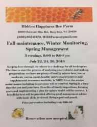 Beekeeping Class @ Hidden Happiness Bee Farm July 22, 24 and 26 - 3 hours/night